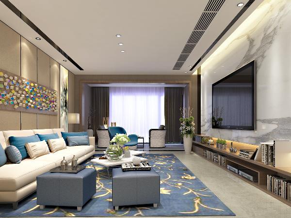 客厅电视背景墙上木饰面的稳重压住对面飘逸的色彩,电视柜地面和沙发的白色又把两面块对比强烈的色块协调起来。