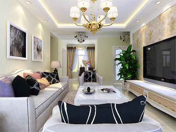 客厅的硬装色彩还是比较朴素的,在茶几和桌子的选材都是选用的烤漆家具,选用的淡黄色的壁纸和欧式元素来点染整个空间,家具的搭配上讲究不拘一格,更多几分随性,色调和谐统一。