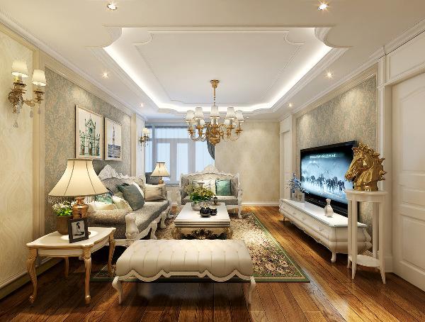 【客厅】 客厅的顶面是纯白色,墙面采用暗花壁纸,在整个空间中的起到重要作用,空间的氛围感表现的淋漓尽致。沙发墙与电视墙的相互对应,以及采用的白色线框,让空间的整体轮廓感极强。
