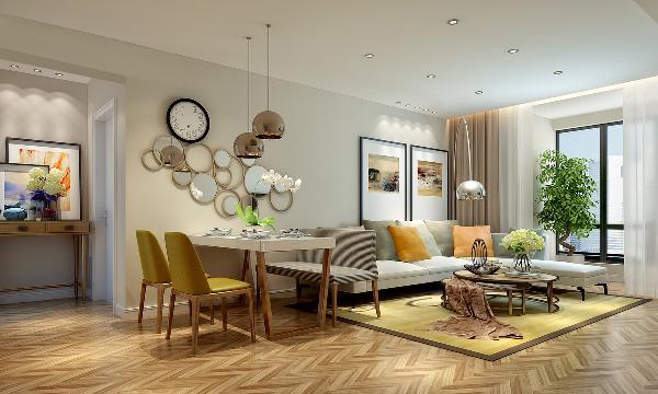 厅的墙上挂着钟表,通过不规则的圆形镜面装饰使得墙面活泼而有趣,整个空间都灵动了。客厅舒适而柔软的沙发,鹅绒的靠包让业主回到家中得到全身心的放松