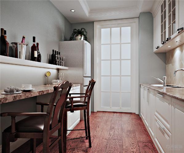卧室暖色壁纸做的的背景墙与深木纹纹理的实木五斗柜相互应,给人一种安逸祥和的感觉,顶面石膏线吊顶与地板相呼应,使得整体空间稳重中带着温馨,清新中呆着舒适。