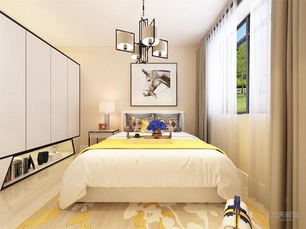 主卧室的设计中,地面采用的是瓷砖,卧室打造的是简约风,床头背景墙采用的是挂画装饰,整个空间多采用简洁明朗的线条,在家具的采用白色系列