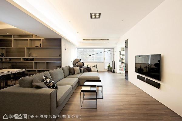 采光充足为好房的必备条件,优士盟设计采开放式手法将场域紧密串联,更顺势将窗外自然光引入室内,成功构筑现代日光宅。