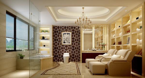 主卧卫生间,设计师将原户型的露台扩给了卫生间,卫生间的级别更能体 现整个房子的品质。靠窗规划为弧形的浴缸,满月的夜晚,月光撒一室银光,