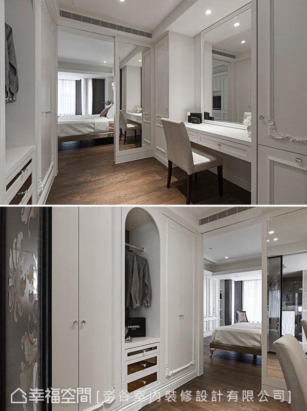 帝谷室内装修在主卧与卫浴中的过道,设置具有化妆桌的更衣室,柜体中的开放衣架,则能放置外出的衣物。