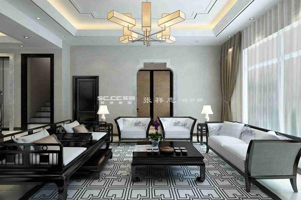 别墅 新中式 万科 红郡 白领 客厅图片来自快乐彩在万科红郡300平新中式装修设计的分享