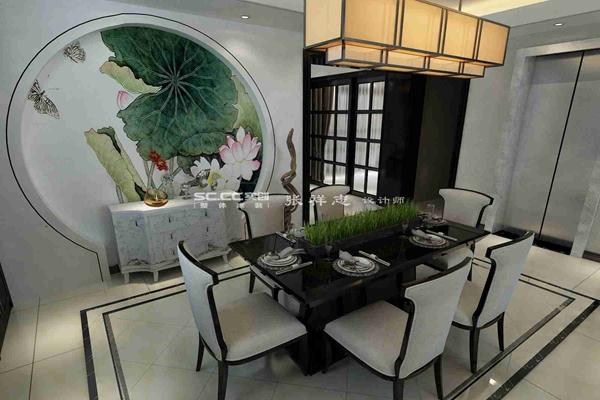 别墅 新中式 万科 红郡 白领 餐厅图片来自快乐彩在万科红郡300平新中式装修设计的分享