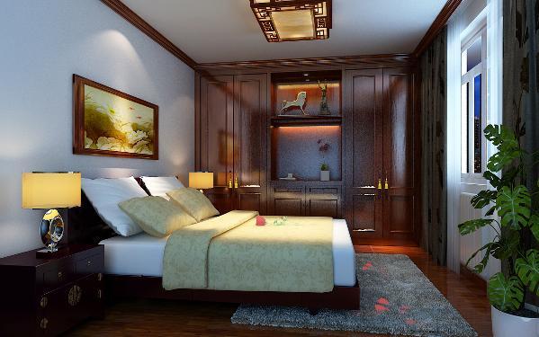 主卧家具选用了实用性和装饰性一体,选择地毯的时候一定要注意颜色选择,颜色不易过多跳,这样可以让整个空间都充满了活力并拥有和谐气氛。