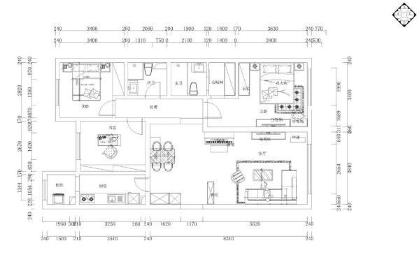 入户我们的正前方,首先看到的是一个较大的空间,它是休闲娱乐的设计,左边是一个客厅的设计,是整个空间的视觉中心,与入户门相邻的是厨房