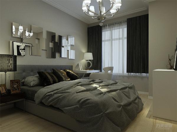 主卧室的采光相对较好,而且主要注重实用性,五斗柜也可以为空间增加一定的储物空间,整套方案风格统一,实用性与舒适度较强。