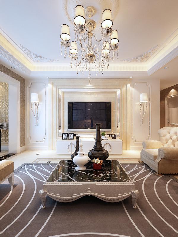 客厅以暖馨的米黄色和干净的纯白搭配,空间晶莹质感中透着温润感。同色系的沙发与褐红色的家具相得益彰,华丽的水晶灯散发出耀眼光芒,灿烂光华溢满空间