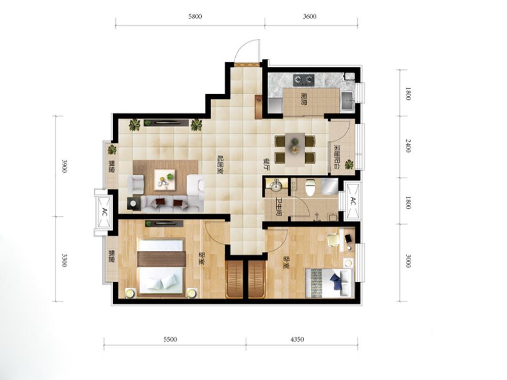 二居 白领 收纳 旧房改造 美式 小资 户型图图片来自tjsczs88在美式美居的分享