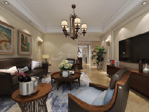 客厅天花板采用嵌入式石膏吊顶,搭配精致的新古典吊灯,营造出一种怀旧、浪漫的感觉。