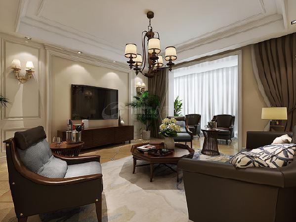 以仿古砖作为地面装饰材料,在沙发区铺上大幅地毯,使空间区域划分更加清晰。复古造型的组合沙发,以及茶几都具有上乘的质感,让美式古典风格得以进一步的彰显。