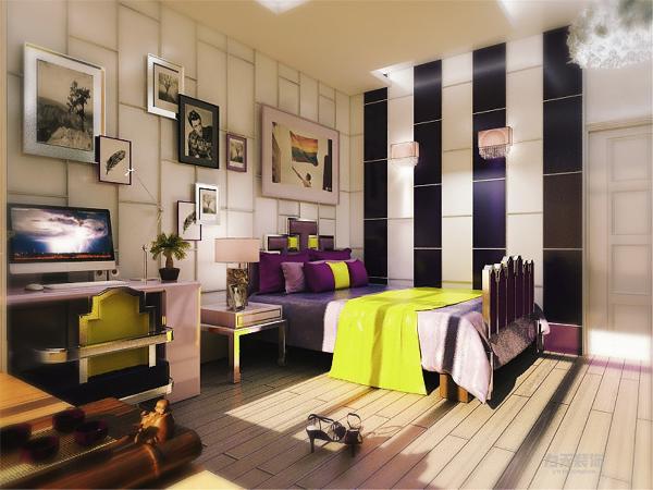 卧室为了突出现代时尚感,采用了紫色与明黄的撞色,点缀金属银材质,在窗户处理方面,我设计的飘窗,飘窗下的座位没有选石材而采用木材质,增加亲近感。
