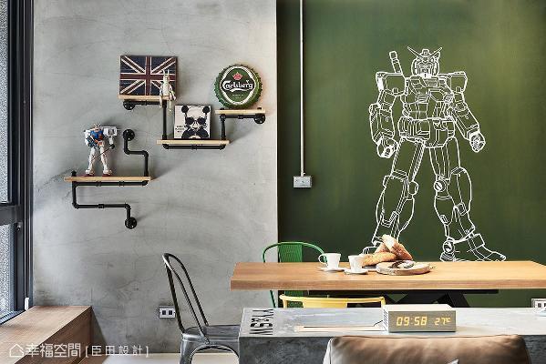 使用绿色黑板漆,于餐厅旁打造一面涂鸦墙,让屋主尽情挥洒天马行空的创意巧思。
