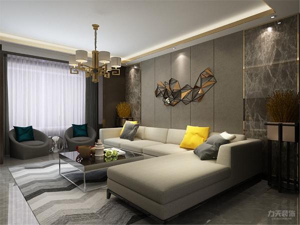 沙发采用的暖灰色调,加上明黄色的抱枕从中跳跃出来,使整个空间看起来不至于太冷。客厅阳台做了一个休息区域,充分的利用了每一个地方,争取将浪费空间达到最小。