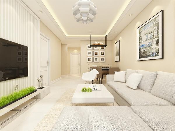 客厅沙发背景墙没有过多浮夸的装饰,只有两张装饰画来提升家里的氛围,让家温馨又不沉闷,增加点活力,电视背景墙用了深色木板加以衬托,使整个客厅层次分明。