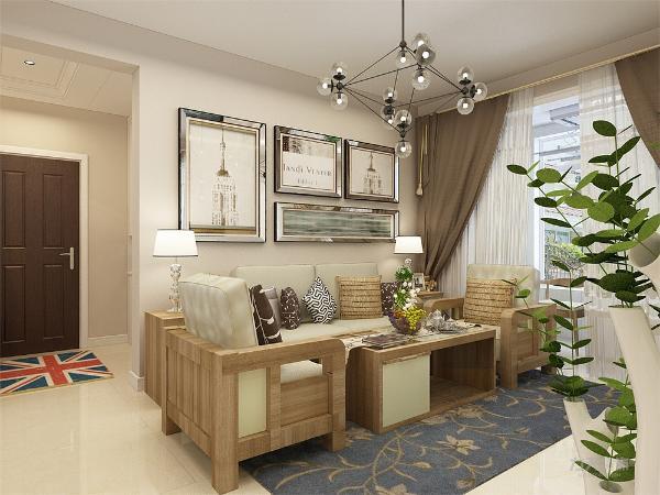 客厅作为待客区域,要明快光鲜,用白色墙砖纹路壁纸,使整体上有一种宽敞而富有现代时尚气息。