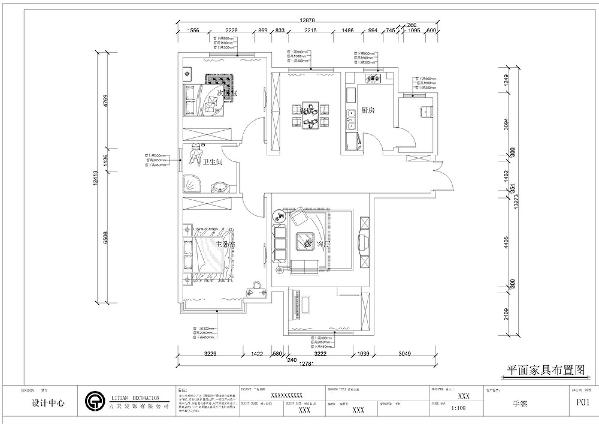 本案为两室两厅的住宅室内户型,总面积110㎡.
