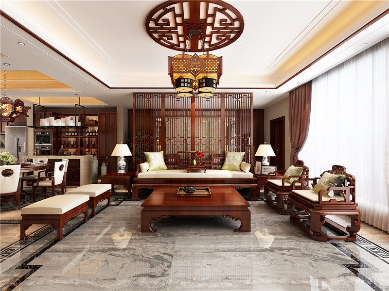龙发装饰 别墅 中式 国墅盛园 四居 客厅图片来自龙发装饰天津公司在国墅盛园325平米中式风格的分享