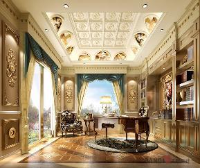 欧式 田园 混搭 别墅 80后 简约 书房图片来自名雕丹迪在保利高尔夫花园欧式别墅的分享