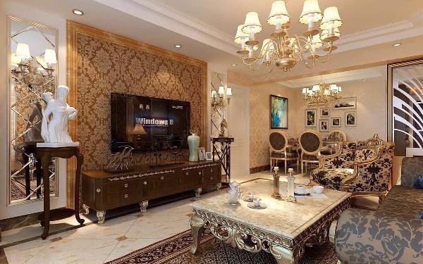 利用菱形镜面和石材装饰线突出风格的同时也彰显了客厅的整体性和凝聚力。
