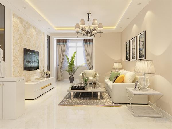 本方案从户型来看各个空间都安排的很规整,入户门开始,左侧为客厅,地面采用800*800地砖,墙面采用白色乳胶漆,突出空间性。
