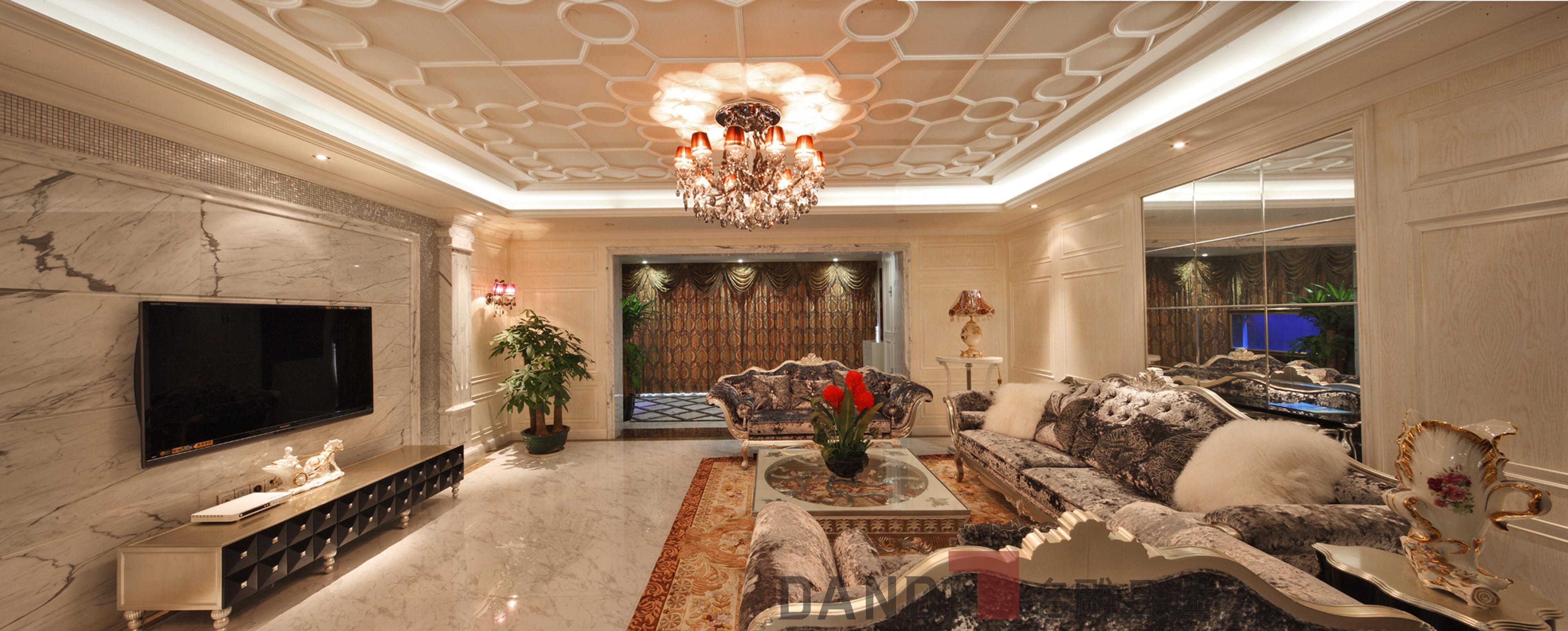 简约 欧式 田园 别墅 客厅图片来自名雕丹迪在万科璞悦山800平米别墅装修的分享