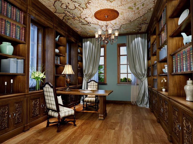 别墅 书房图片来自尚筑装饰在浅水湾320平米 中式风的分享