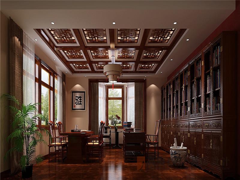 中式 新中式 别墅 棋盘山别墅 小资 书房图片来自沙漠雪雨在450平米新中式诗酒当歌人生几何的分享
