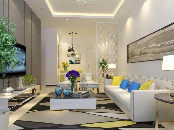 客厅沙发背景墙墙面挂了挂画来做装饰,电视背景墙上做造型 ,客厅墙面一部分刷白色乳胶漆,客厅内放有绿植来美化环境,客餐厅地面采用地砖