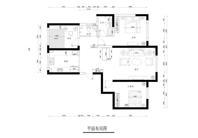 龙发装饰 格调林泉 简约 现代 三居 户型图图片来自龙发装饰天津公司在格调林泉132平米现代简约风格的分享