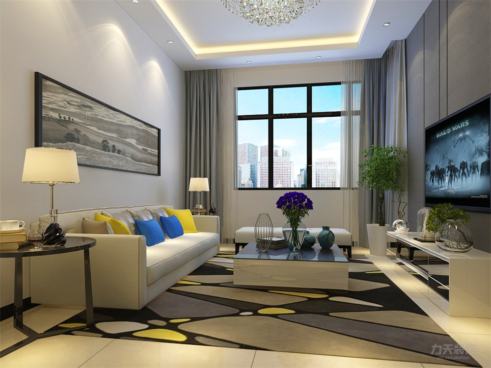 简约 现代 二居 收纳 小资 客厅图片来自阳光力天装饰在力天装饰-奥北公元-90㎡的分享