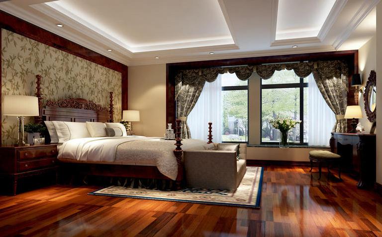 四居 美式 生活 时尚 装修 案例 卧室图片来自严金玉在星艺瑞家U品185平经典美式案例的分享