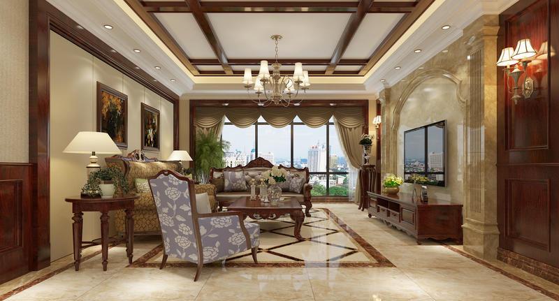 四居 美式 生活 时尚 装修 案例 客厅图片来自严金玉在星艺瑞家U品185平经典美式案例的分享