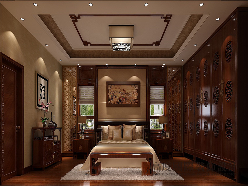 中式 新中式 别墅 棋盘山别墅 小资 卧室图片来自沙漠雪雨在450平米新中式诗酒当歌人生几何的分享