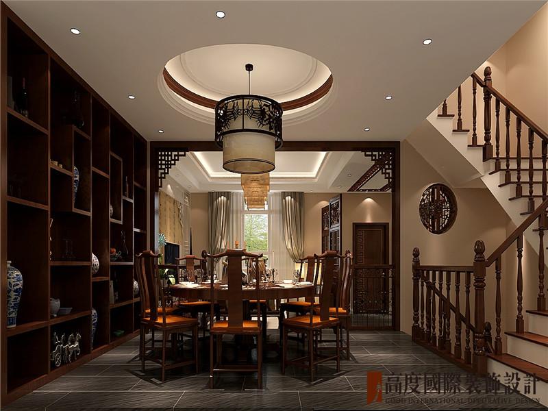 别墅 中式 新古典 大气 奢华 餐厅图片来自北京高度国际装饰在大运河孔雀城360㎡中式的分享