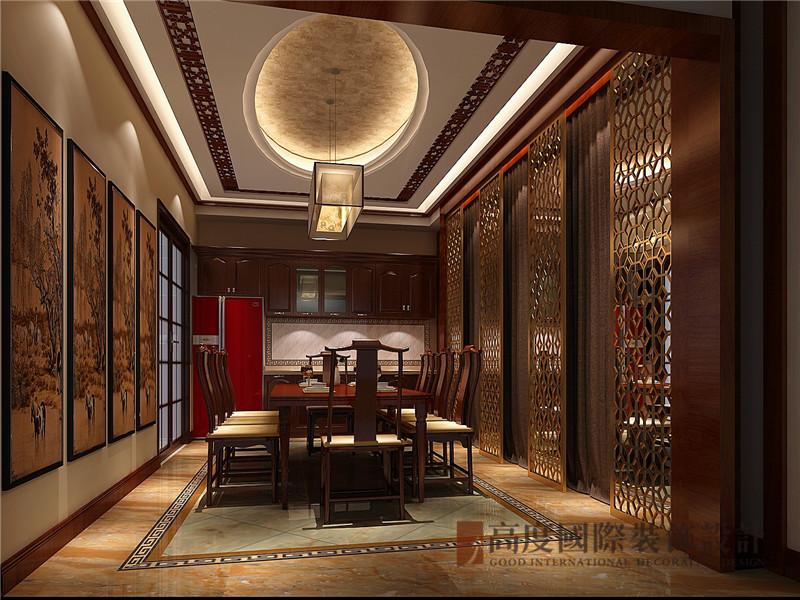 中式 新中式 别墅 棋盘山别墅 小资 餐厅图片来自沙漠雪雨在450平米新中式诗酒当歌人生几何的分享