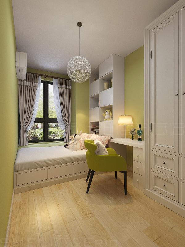 墙面满涂的闪光绿(纯度较低的黄绿色)乳胶漆的选用使得空间四处洋溢着春天的气息。生活在这个独立小空间的宝贝注定活泼可爱,也一定会健康快乐的成长为大人喜欢的模样。
