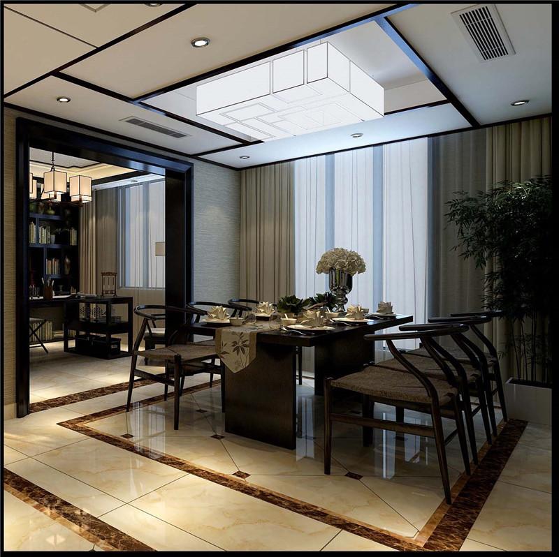 龙发装饰 格调林泉 四居 现代 中式 餐厅图片来自龙发装饰天津公司在格调林泉220平米现代中式风格的分享
