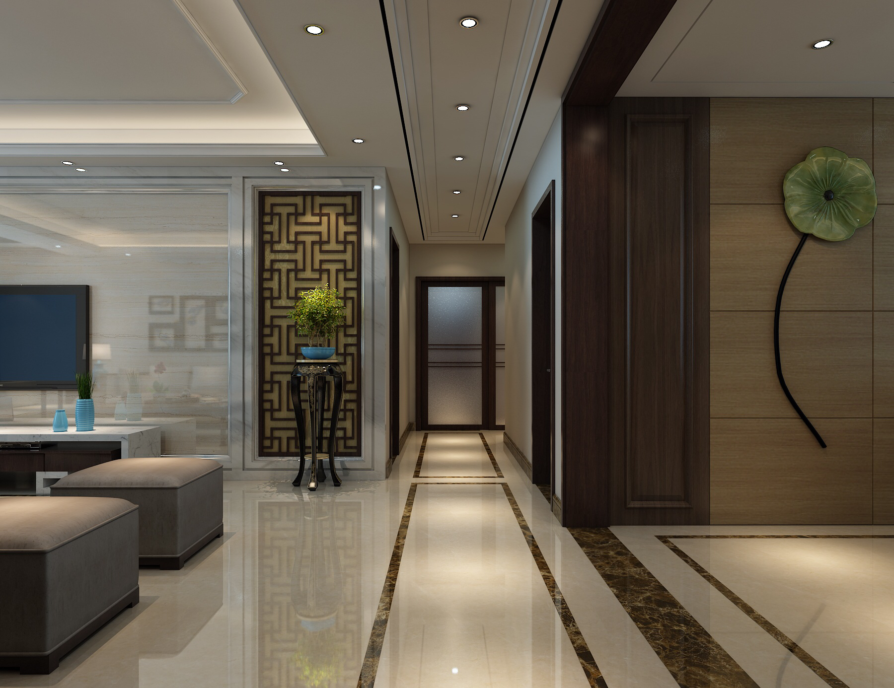 三居 过道图片来自刘政室内设计师在小浪底新中式的分享