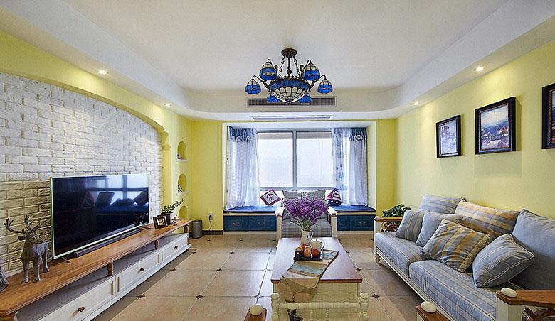 客厅图片来自家装大管家在一眼惊喜 100平地中海温馨3居室的分享