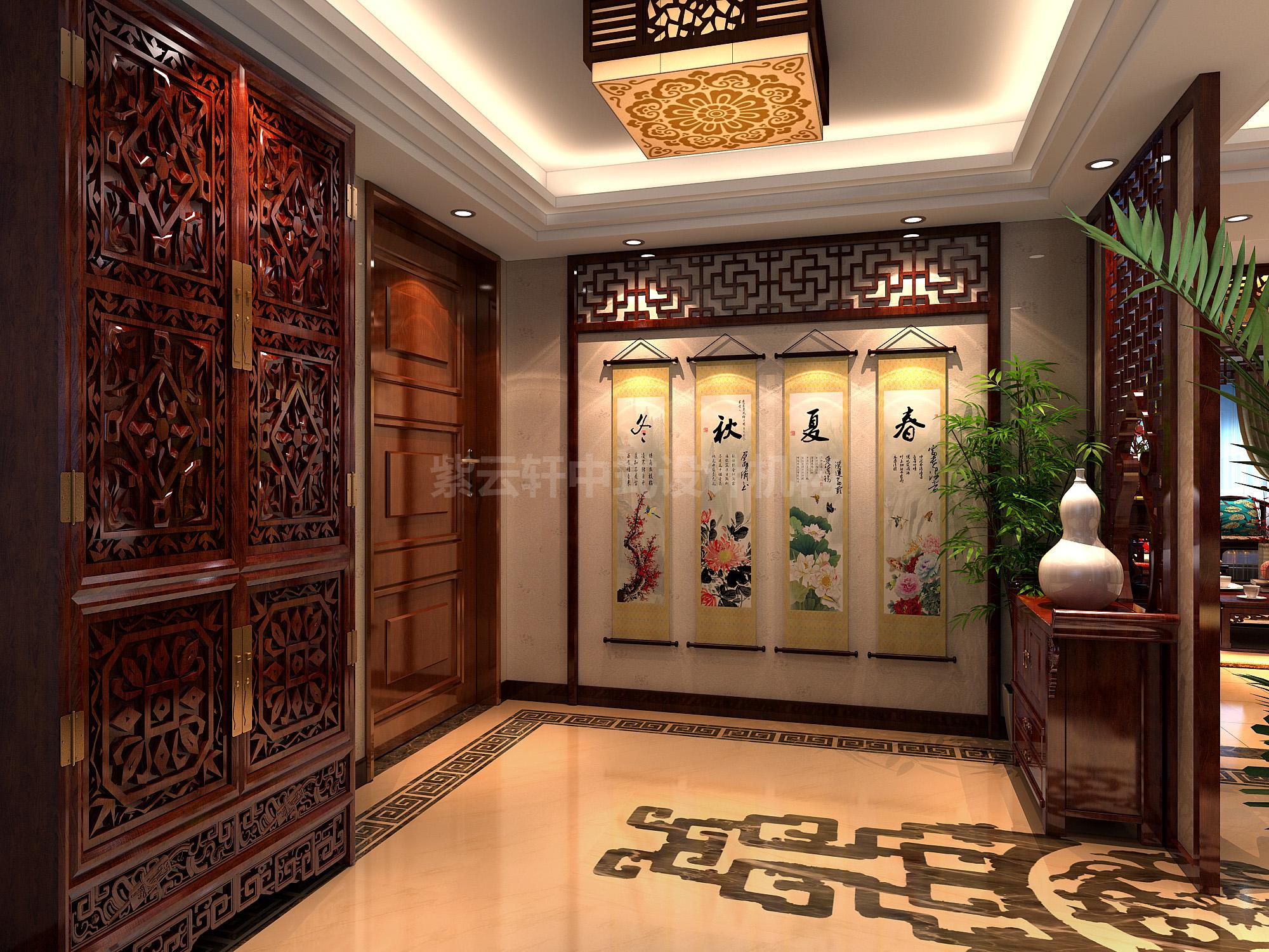 别墅 中式装修 古典中式 玄关图片来自紫云轩中式装修在青山绿水引诗赋,古木沉香牵画魂的分享