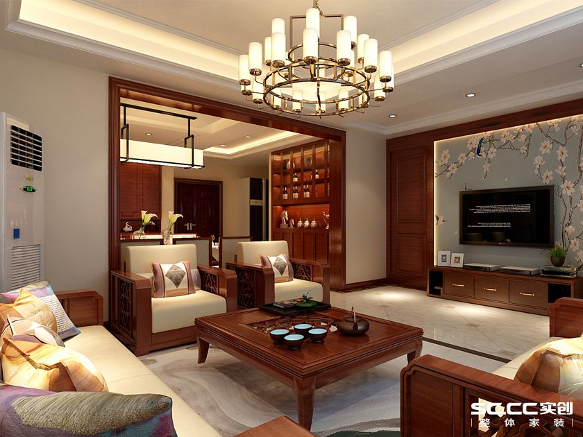 新中式客厅 红色中式 现代中式 黑白色中式 实木中式 新中式禅意 别墅新中式 别墅装修图片来自全屋整装设计在新中式客厅的分享