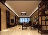 在这个客厅装修图中,壁纸采用的是和大理石同样的色调来设计,天水一色,使得这种结合顺其自然,天花板上的吸顶灯采用的也是复古的装修样式,墙上的荷花画作显示出清新淡雅的味道。