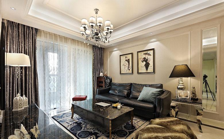 客厅图片来自家装大管家在黑金时代 109平现代简约舒适3居的分享