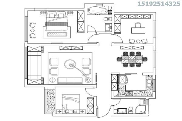 三居 新古典 凯景广场 实创 厨房 卧室 客厅图片来自快乐彩在凯景广场三居室143平新古典风格的分享