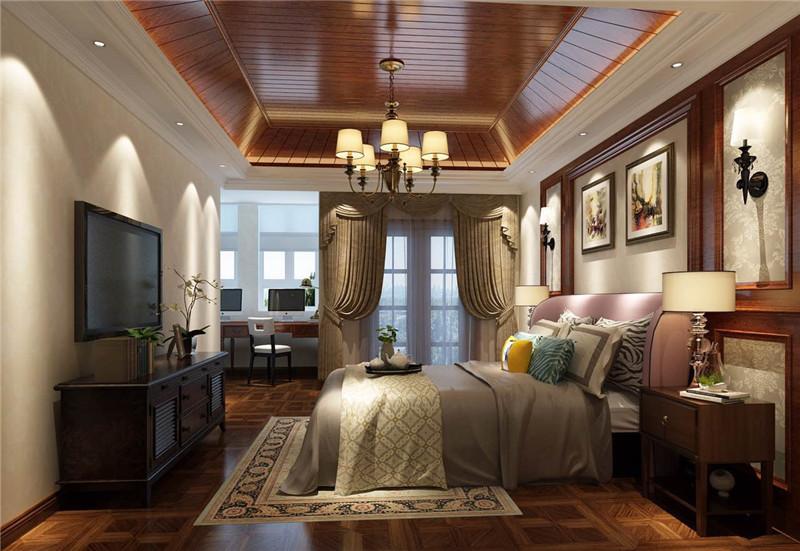 龙发装饰 润泽尚苑 别墅 中式 美式 卧室图片来自龙发装饰天津公司在润泽尚苑280平米新中式风格的分享