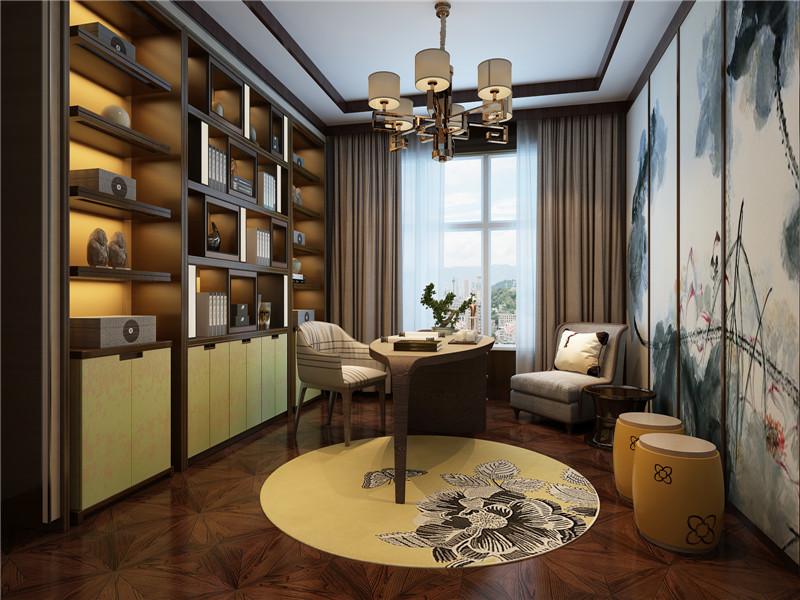 龙发装饰 别墅 中式 新中式 鸿雁岛 书房图片来自龙发装饰天津公司在鸿雁岛800平米新中式风格的分享